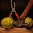 © 2011 Aron Hart, Lemon Aid, Oil on Linen mounted to board, 8 x 8 inches.