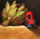 © 2011 Aron Hart, Plane Asparagus, Oil on Linen mounted to board, 8 x 8 inches.